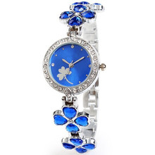 Ladies Simple Small Round Dial flower Skeleton Bracelet Womens Watches 2016 Top Brand crystal Casual Quartz Watch Waches Women