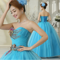 Vestido de Baile 2016 Hot Azul Quinceanera Vestido Querida Brilhante Beading vestidos Bonitos de 15 anos Vestido para 15 Anos