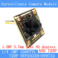 1.0MP 1280 * 720P AHD CCTV 3.7mm pinhole Camera Module Circuit Board,  CMOS NVP2433H + OV9732 1000TVL camera PAL / NTSC Optional