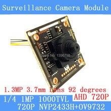 1.0MP 1280 * 720P AHD CCTV 3.7mm pinhole Camera Module Circuit Board, CMOS NVP2433H + OV9732 1000TVL camera PAL / NTSC Optional