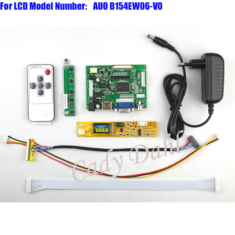 HDMI VGA 2AV Controller Board + Backlight Inverter + 30P Lvds Cable + Remote for B154EW06 - V0 1280x800 1ch 6bit LCD Display
