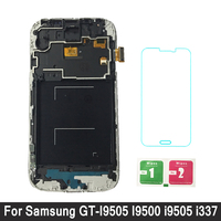 For Samsung Galaxy S4 I9500 I9505 I337 I9515 LCD Display Touch Screen Digitizer Assembly with Frame adjust brightness LCD