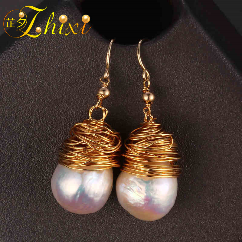 [ZHIXI] Freshwater Pearl Earrings For Women Fine Jewelry Big Natural Baroque Pearl Drop Earrings Fashion Gift For Party EB03 [zhixi] freshwater pearl earrings for women fine jewelry big pearl earrings gold drop irregular fashion gift for party eb224