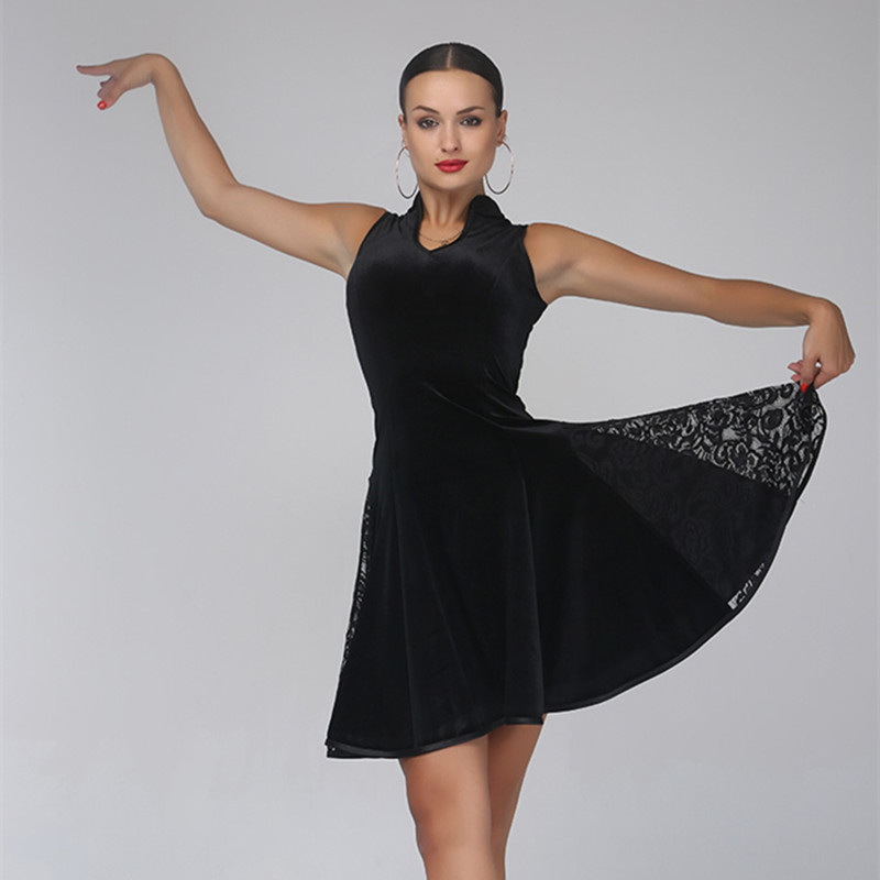 black velvet latin dance dress women latin dress rumba cha cha dress latin salsa dress modern dance costume latin dance wear