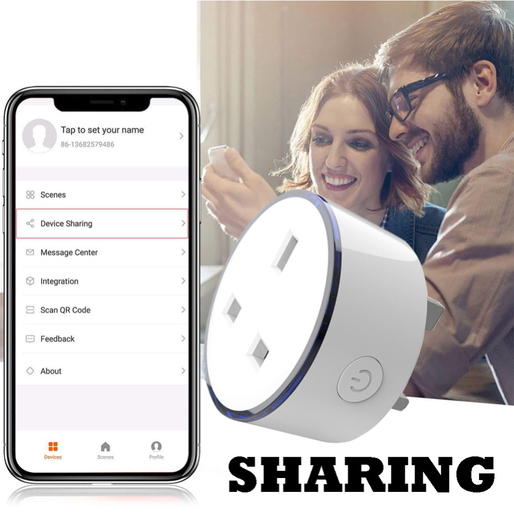 Image 2 - 2pcs pack Smart charger with RGB LED light UK Socket Wireless WIFI Remote Control Home Voice Control Works With Google Home Mini-in Mobile Phone Chargers from Cellphones & Telecommunications