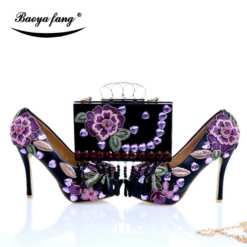 Peep Toe Womens wedding shoes with matching bags Shining Crystal real leather Bride shoes and purse Lavender color handmade shoe crystal queen multicolor flower shining crystal womens flat wedding shoes matching bags clutches flats female lady party shoes