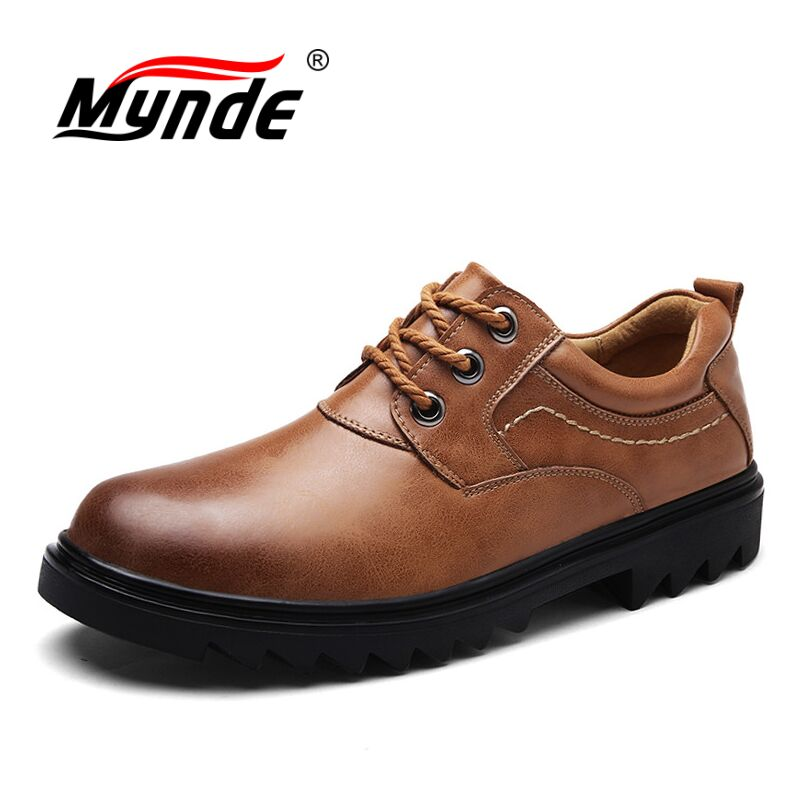 MYNDE Brand Handmade Breathable Men's Oxford Shoes Top Quality Dress Shoes Men Flats Fashion Genuine Leather Casual Men Shoes top brand high quality genuine leather casual men shoes cow suede comfortable loafers soft breathable shoes men flats warm