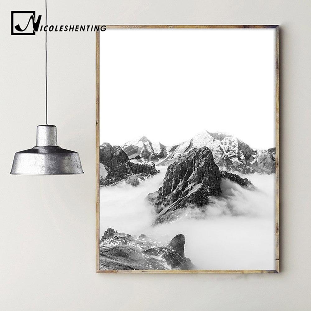 255 50 De Réductionstyle Scandinave Cheval Montagne Mur Art Toile Affiche Nordique Paysage Imprimer Géométrie Abstraite Peinture Décorative
