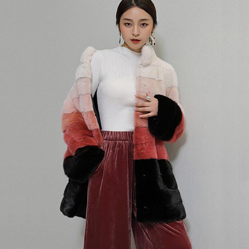 2019 Véritable Élégant Gradient Pour Manteaux En Pleine Femmes Manteau Vêtements Veste Pelt Lvchi Chaude Vison Couleur De Ol Moyen Slim Dessus Color Cuir vdq5vw6