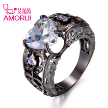 AMORUI Trendy Love Heart Women Red Purple White Birth Stone Crystal Engagement Ring Woman Angel Wings Rings Black Gold Anillos