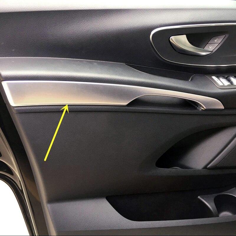 2PCS ABS Matte Interior Front Door Armrest Decoration Strip Cover Trim For Mercedes Benz Vito W447