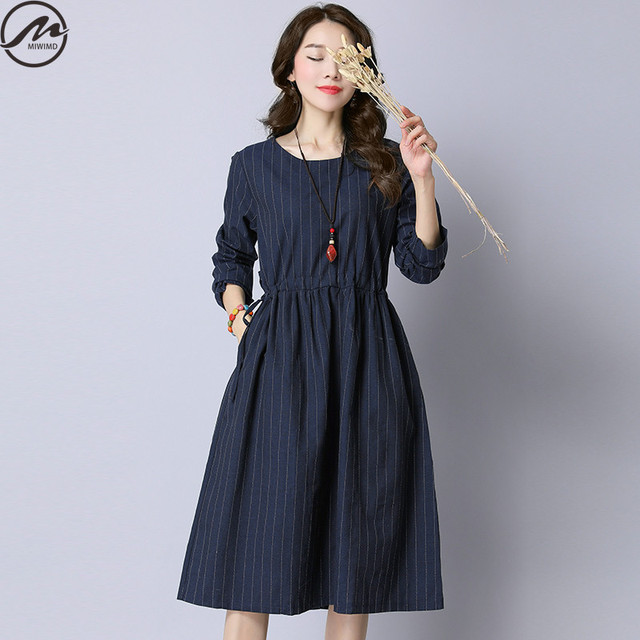 4887b918f22 MIWIMD New 2017 Fashion Women Autumn Long Sleeve Vintage Striped Loose  Cotton Linen Drawstring Casual Dresses Big Size Clothing