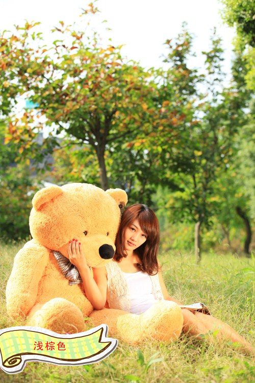 lovely bear toy plush toy cute big eyes bow stuffed bear toy teddy bear birthday gift light yellow brown 120cm fancytrader new style teddt bear toy 51 130cm big giant stuffed plush cute teddy bear valentine s day gift 4 colors ft90548