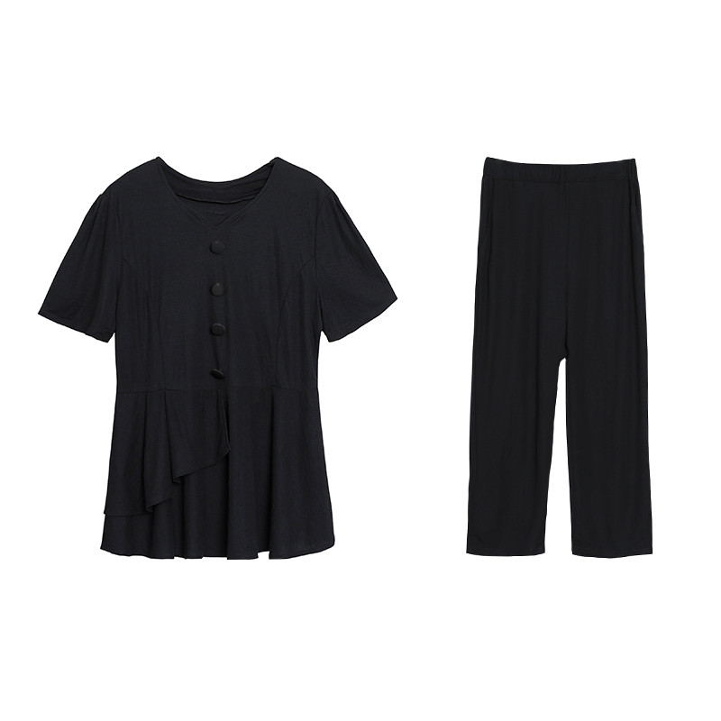 Summer Black Two Piece Sets Women Plus Size Short Sleeve Tops And Cropped Pants Sets Suits Casual Office Elegant Women's Sets 29