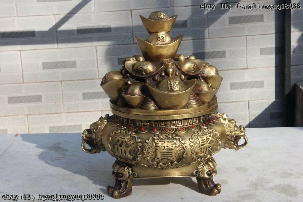 Chinese Folk Pure Brass Copper Yuan Bao Money Treasure Bowl Wealth Beast StatueChinese Folk Pure Brass Copper Yuan Bao Money Treasure Bowl Wealth Beast Statue