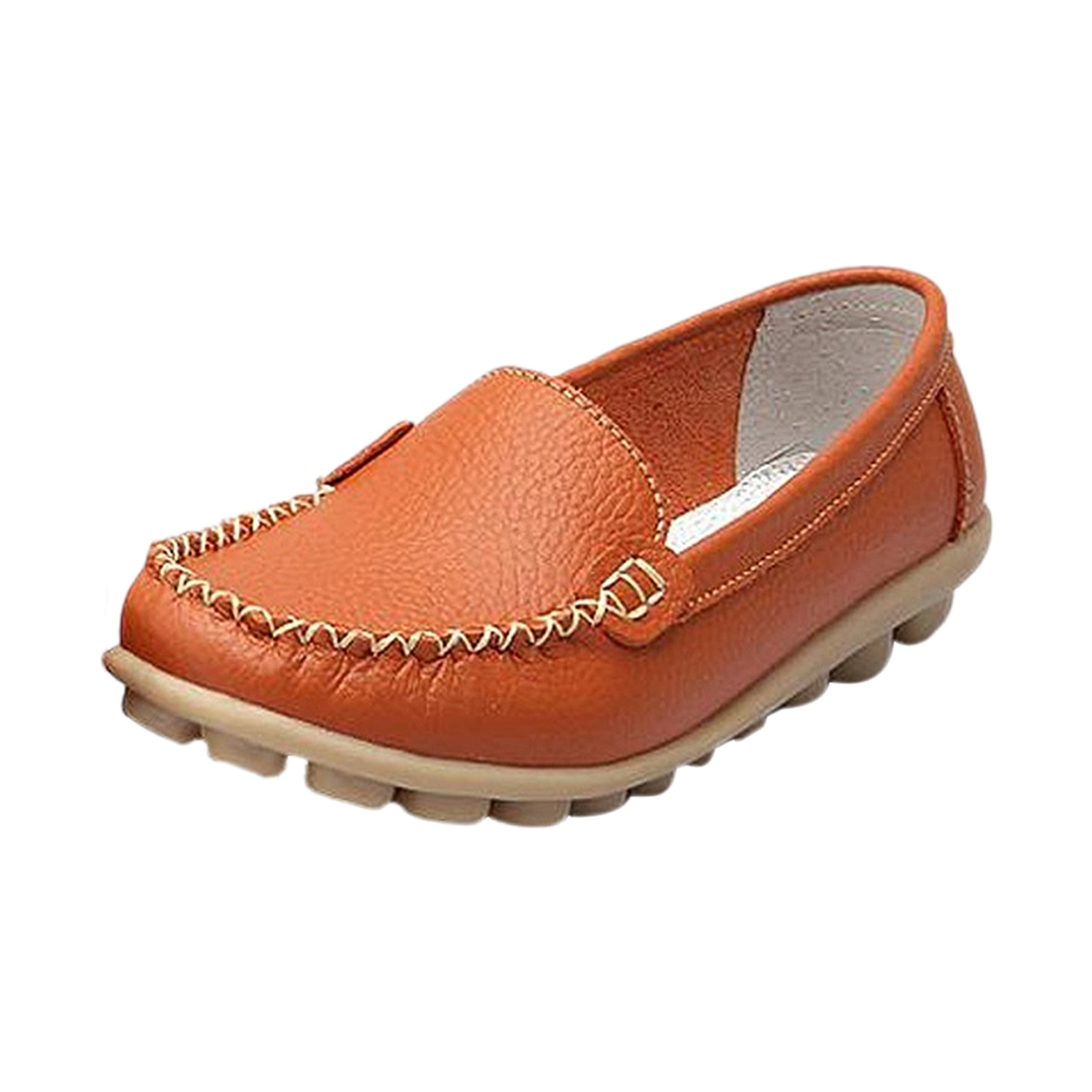 Girl comfortable flat shoes Peas shoes spring new women's breathable leather Casual shoess Orange US7 2017 new spring imported leather men s shoes white eather shoes breathable sneaker fashion men casual shoes