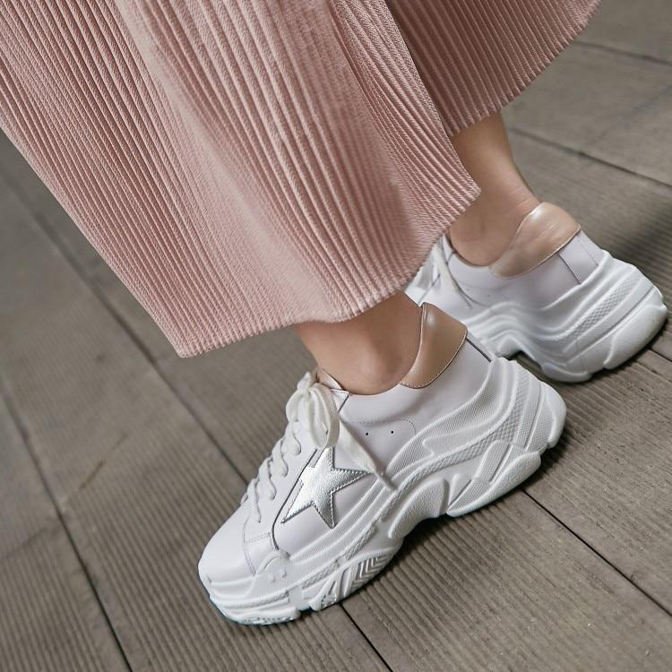 {zorssar} Deporte Plataforma De Plana Vaca Zapatos Cómodos Genuino Moda Mujer Cuero 2018 Zapatillas Nuevo Casuales Blanco H6wPqHr