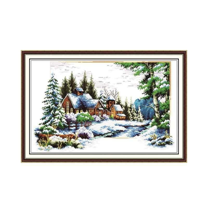 Весна, лето, осень, зима и четыре сезона Красивая вышивка пейзажа Набор для вышивки крестиком ручной работы Рукоделие украшение