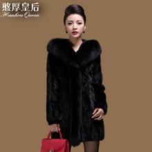 Plus size New Women's Mink fur coat,Elegant Slim Fox fur collar mink coat fur jacket natural fur coats Free shipping FQ833