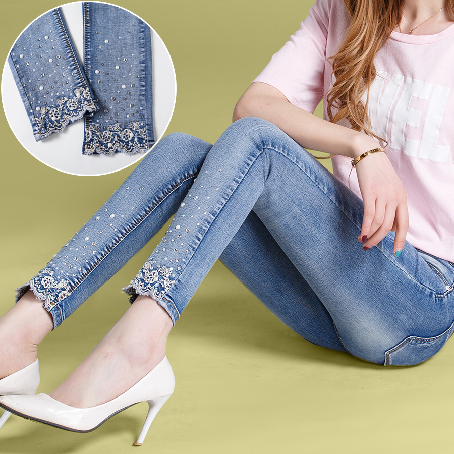 New 2018 Women Fashion Diamond Jeans Casual Denim Pants Woman Skinny Trousers Elastic Pencil Pants Lace Jeans Y62