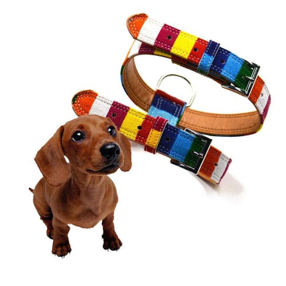 S/M/L Pet Harnesses Colorful Pet Harness Belt PU Simple Adjustable Dog Harness Rainbow PU 2018#11