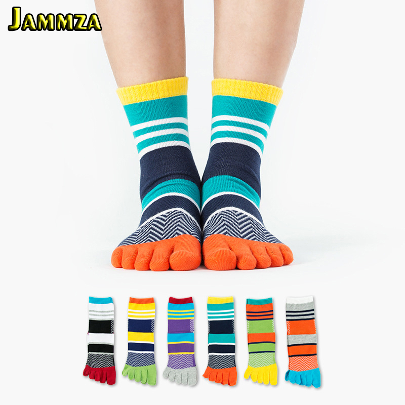 Men Colorful Stripe Socks Fashion New Cotton Five Fingers Toe Mosaic Deodorant Business Casual Europe Wild Funny Sock for Sporty