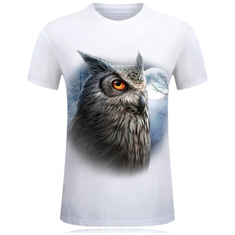 Hot Selling Nieuwe 3D Gedrukt Uil T-shirt Katoen Casual Creatieve - Herenkleding