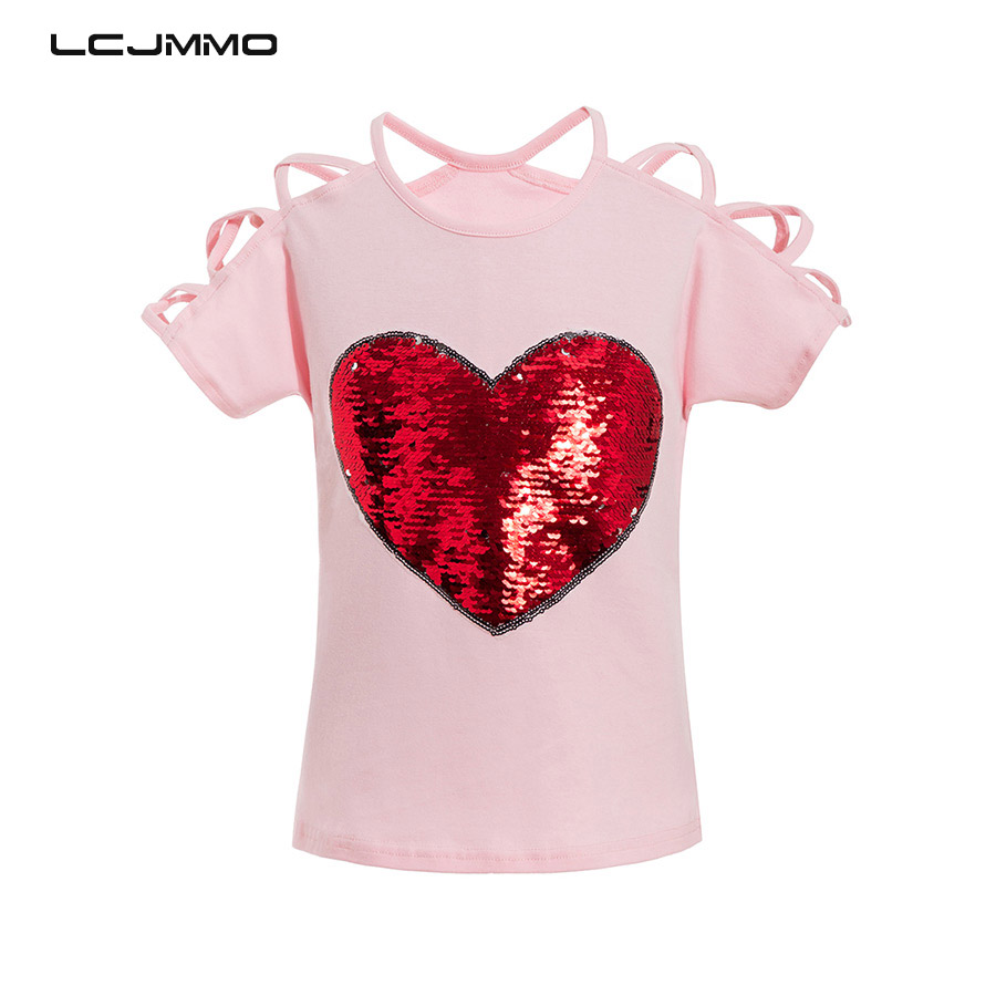 LCJMMO 2018 Summer Cotton Short Sleeves T-Shirts For Girls Tops & Tees Kids Clothes Sequins Sling Baby Girl T Shirts 3-8 Years black pleated design round neck bat sleeves t shirts