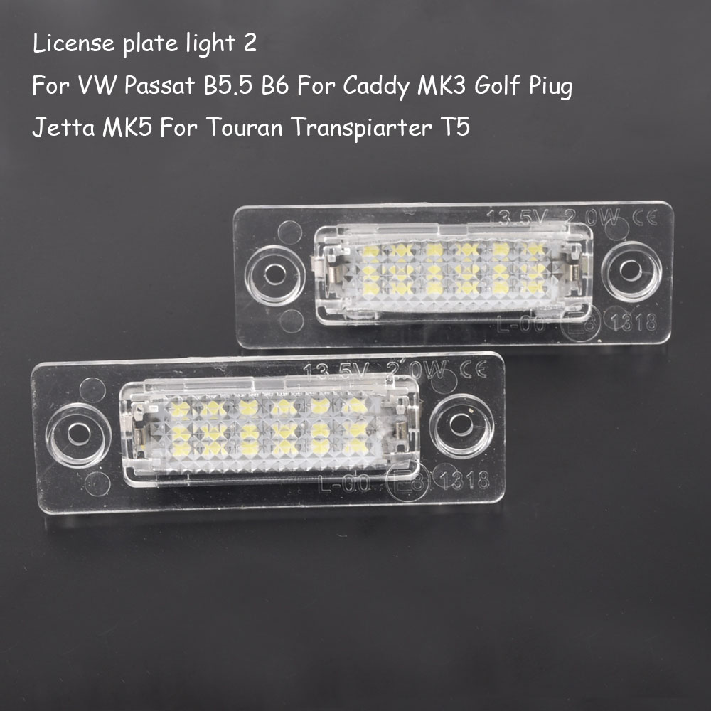 2Pcs Car <font><b>LED</b></font> License Plate <font><b>Light</b></font> Lamp For <font><b>VW</b></font> Touran <font><b>Passat</b></font> Cimousint <font><b>B5</b></font>.5 SKODA Superb 1 3U <font><b>B5</b></font> Car Accessories image