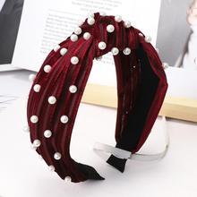 imixlot Korean Pearl Headband for Women Bezel Simple Knotted Hair Loop Hairband Fashion Headwear Girls Accessories