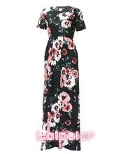 New 2018 Summer Autumn Women Clothing Robe Dresses Short Sleeve Floral Print Large Size Long Dress Plus 2XL 3XL Vestidos