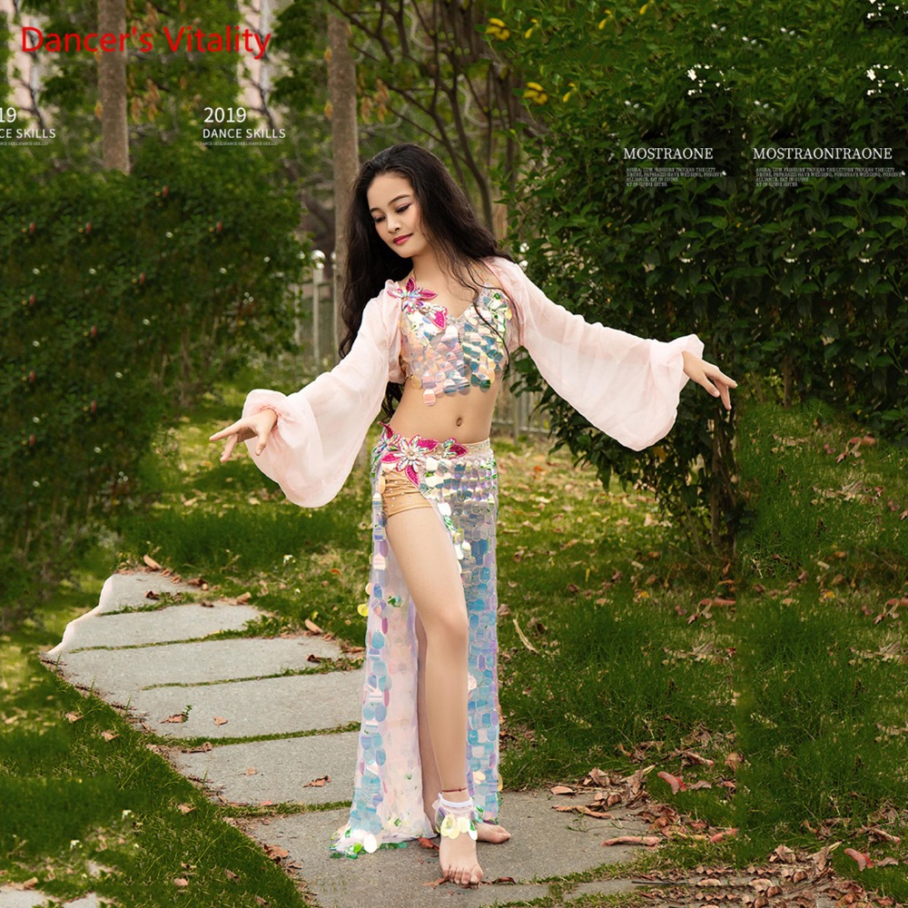 Girls Performance Stage Belly Dance Performance Suit Set Vest+skirt(With Underpants )+jacket New High-Grade Sequins Party Set