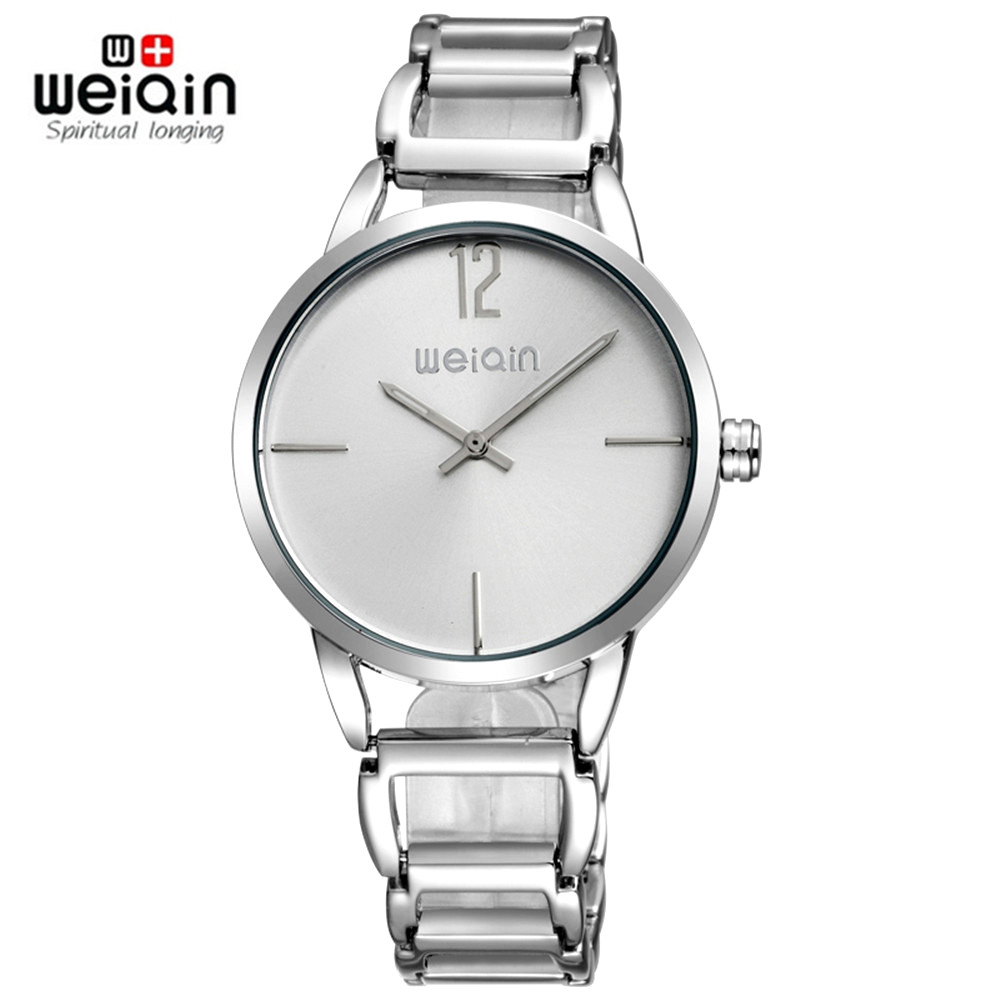 New Top Brand WEIQIN Watch Women Luxury Dress Full Steel Watches Fashion Casual Lady Quartz Watch Silver Female Table Clock Hour luxury top brand guanqin watches fashion women rhinestone vintage wristwatch lady leather quartz watch female dress clock hours