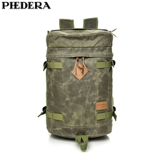 PHEDERA Large Rucksack High Quality Waterproofing Paraffin Canvas Travel Men Backpack Bag Bucket Male Shoulder Bags 2019 New