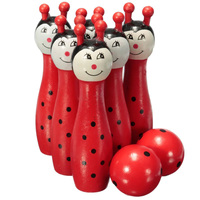 Wooden Bowling Ball Skittle Animal Shape Game For Kids Children Toy Red