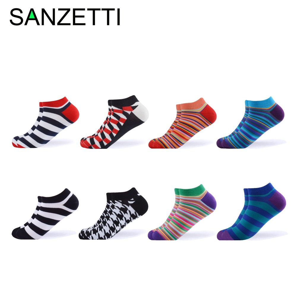 SANZETTI 8 Pairs/Lot Casual Men Women 2019New Ankle Socks Combed Cotton Socks Colorful Plaid Stripes Geometric Pattern Boat Sock