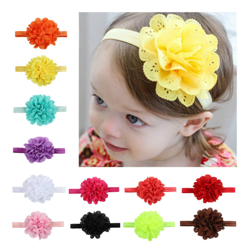 Fashion Fancy Baby Girl Headband Mesh Flower Elastic Children's Hairband Baby Colorful Floral Cute Headwear Lovely Kids Headband