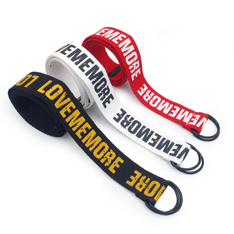 Women Harajuku   Belt   Red Letter Printed Fashion Unisex Double D Ring Canvas Strap Female Long   Belts   For Jeans