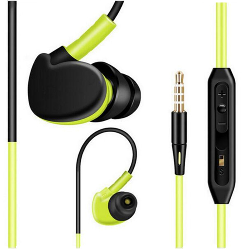 New Waterproof Sport Earphone Running Ear-hook 3.5mm Stereo Bass Noise Cancelling Headset with Mic for iPhone 6 7 Xiaomi Samsung new sport running bluetooth wireless ear hook earphone super stereo bass headset noise reduction lot ib for android ios phones