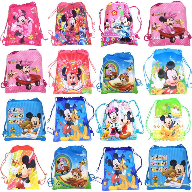 Minnie Mickey Mouse Non-woven Bag Fabric Backpack Child Travel School Bag Decoration Drawstring Gift Bag For Kids Birthday