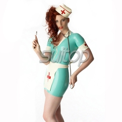 Conjuntos de borracha enfermeira látex uniformes senhora vestido trajes médicos cosplay feminino