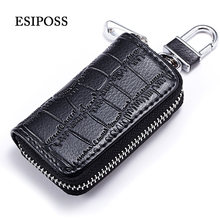 esiposs Colors Key Holder Wallet Leather Unisex Key Wallet Organizer Key Bag Card Holder Car Housekeeper Holder(China)