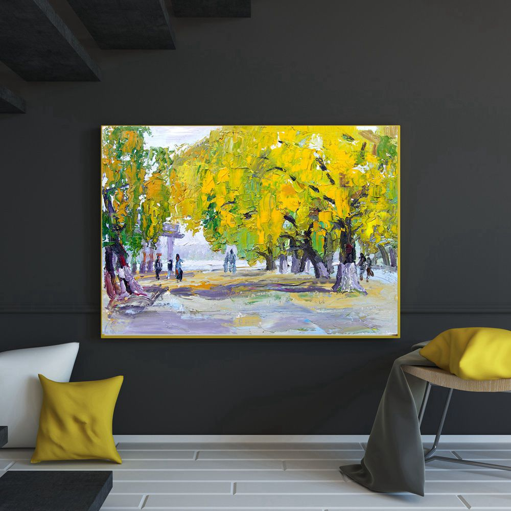 Abstract Oil Painting Print on Canvas Knife Artwork Yellow Trees ...