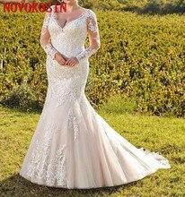 Plus Size Mermaid Wedding Dresses 2019 Deep V Neck Lace Applique Long  Illusion Sleeves Sweep Train Wedding Dress Bridal Gowns
