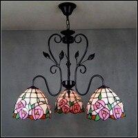 Tiffany European style garden pendant light iron stained glass pink rose 3 heads Rose Garden Restaurant dining room lamp