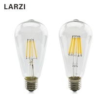 LARZI LED E27 ST64 2W 4W 6W 8W AC 220V 230V 240V Clear Glass Shell  Retro Vintage Edison Led Bulb Filament Light Lamp 2w 4w 6w frosted cob led lamp g45 c35 e14 e27 led bulb candles flame 220v 230v 240v edison crystal chandeliers light source