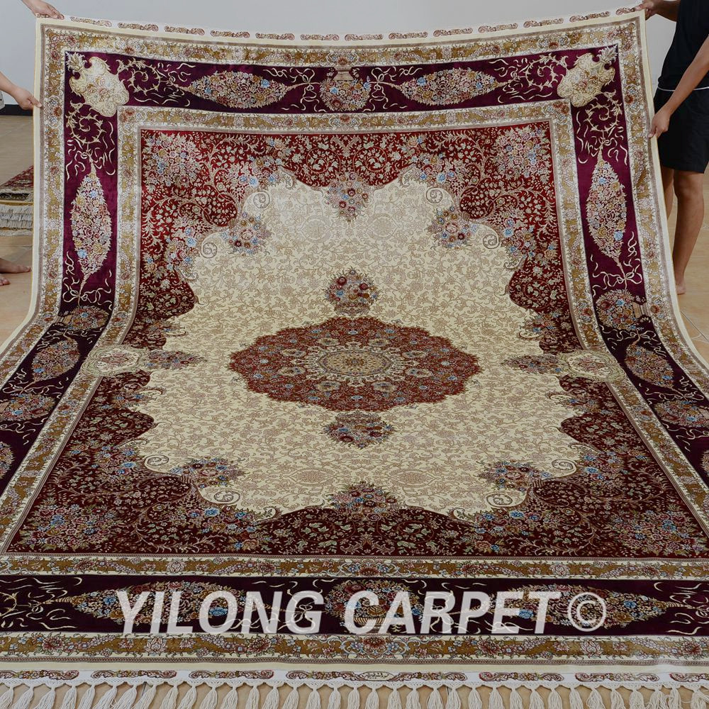 Antique Turkish Silk Rug: Yilong 8.5'x11.48' Handmade Silk Rug Antique Red And Beige