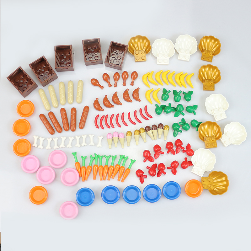 City Block Garden Series Food Stuff Pack Fruit Bread DIY Enlighten Building Block Assembles Particles For Children Gift Legoings