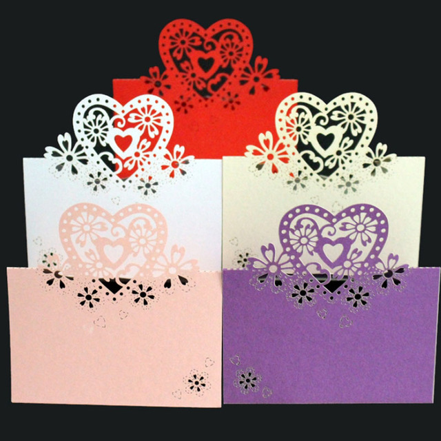 50pc Wedding Decoration Laser Cut Paper Sweet Heart Butterfly Birthday Party Table Decor Guest Name Place Card Number Mark