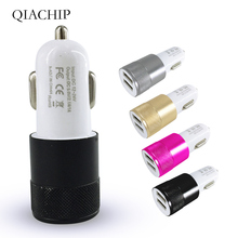 цена на QIACHIP Universal 2 Port USB Output Car Charger Auto Power Adapter Fast Charge For Mobile phones pad MP3 Camera Tablets New Dual